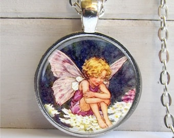 Fairy Pendant, Flower Fairy Necklace, Pink And Purple Pendant, Fairy Jewelry