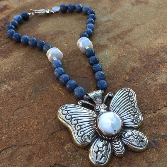 Blue Sponge Coral with Butterfly Boho Statement Necklace and Earring Set