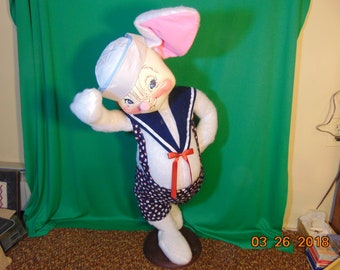 "One (1), 36"" Tall, Annalee, Bunny Sailor Doll, Mounted on Stand, with Original Tags."