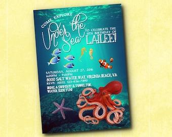 Under the Sea Underwater Ocean Octopus Birthday Invitation
