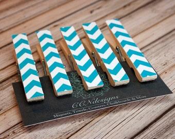 Aqua Blue Chevron Clothespin Magnets, Set of 5