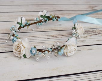 Handcrafted Light Blue and Off White Rose Flower Crown - Pearl and Rhinestone Flower Halo - Bridal Flower Crown - Winter Wedding Accessory