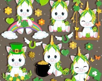 St Patricks day clipart, St Patricks clipart, Baby Unicorn Clipart, Shamrock clipart, Pony, Horse