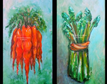 Kitchen paintings Asparagus painting Carrot painting kitchen wall art dining room wall art vegetable art colorful kitchen painting FREE ship