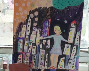 Art print gouache 'She dared'