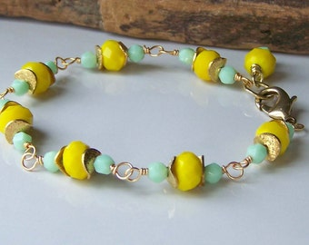 50% OFF, Etsy, Etsy Jewelry, Yellow and Green, Gold Plated Bracelet, Linked Bracelet, Beaded Bracelet, Etsy Bracelet