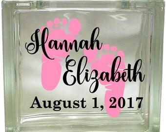Baby, Footprints, Vinyl decal, Glass block decal, Personalized, Name, Birth date, Girl, Script, Block Decal, Nightlight, Gift, Baby feet