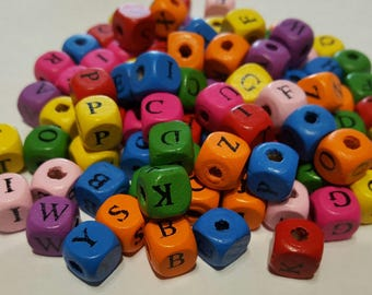 Set 95 letters colors wooden beads
