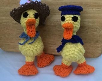 Hand Crochet boy and girl  duck Stuffed Animal set