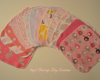 Baby Girl Reusable Wipes, Flannel Washcloths, Baby Wipes, Surged Flannel Baby Wipes, Baby Girl Print Variety, Single or Double Ply