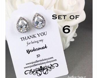Bridesmaid Earrings Set of 6 Stud Earrings Cubic Zirconia Stud Earrings Statement Earrings Bridesmaid Gift for Her Teardrop Earrings