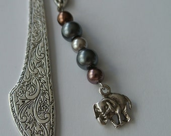 Small Silver Bookmark with Gray and Brown Pearl Beads and Silver Elephant Charm
