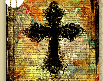 Bible Verse Cross Art, Orange Cross Art, Christian Art Canvas Gallery Wrap