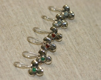 Sterling Earrings, Silver Earrings,  Handmade 925 Silver Earrings, Israeli Designer,Everyday Wear Earrings, Garnet Silver Flower