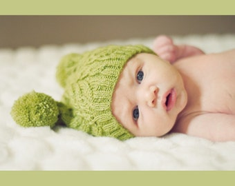 Bonnet tricot torsadé pour bébé citron vert