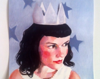 Jenny Queen of the stars - square print on paper - print of original acrylic painting - woman face art