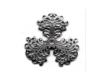 Three Petal Filigree Oxidized Silver 36 mm