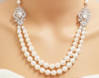 Wedding Jewelry Double Strands Swarovski Pearl Necklace Bridal Necklace Bridesmaids Necklace Backdrop Necklace Rhinestone Necklace - NIKI
