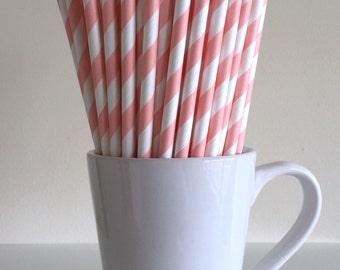 Blush Pink Striped Paper Straws Party Supplies Party Decor Bar Cart Cake Pop Sticks Mason Jar Straws Baby Shower  Graduation