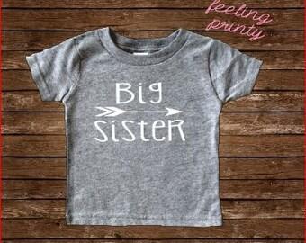 SALE Big Sister Shirt big sis shirt Girls Shirt New Sister grey shirt