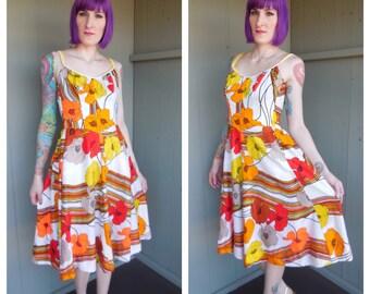 Vintage 1960's Poppy Flower Barkcloth Sun Dress Swing Dress by DeWeese Design - size Medium