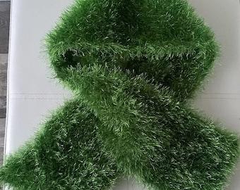 Vibrant Green Hand Knitted Ladies Eyelash Scarf