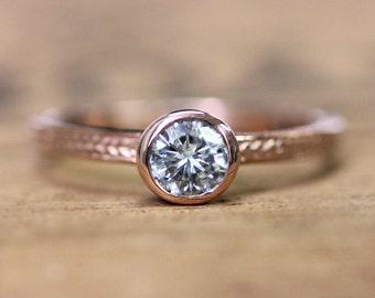 Rose gold moissanite engagement ring, forever brilliant moissanite engagement ring, rose gold solitaire ring, conflict free ring, custom