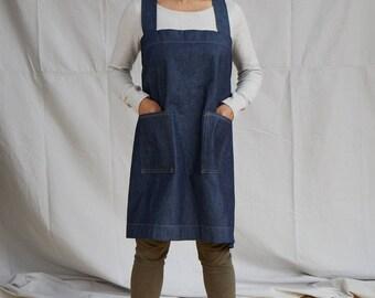 Denim Japanese style, cross back apron. No ties, loose fitting design.