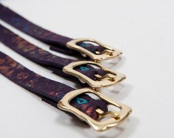 Leather slim bohemian belt boho indie couture romantic purple accessory woman clothing flower fashion handmade full brass buckle glitter