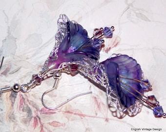 Flower Earrings, Purple Flower Earrings, Boho Earrings, Drop Earrings, Handmade Earrings, Dangle Earrings, Vintage Style Earrings, Lucite