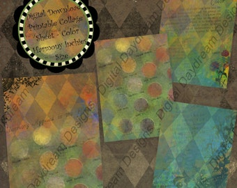 Digital Download Printable Collage Sheet - 2.5 x 3.5 ATC size Backgrounds, Color Harmony
