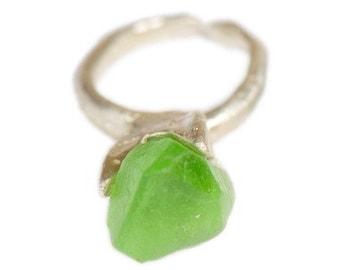Raw  Green Garnet Ring Primitive Modern