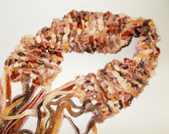 Boho Fringe Belt Scarf YOUR CHOICE Funky Chunky Sparkly Hand Made Knit Accessory
