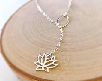 Silver Lotus Y necklace plunging zen yoga yogi inspirational new age boho bohemian Otis B lariat necklace meaningful meditative zen om