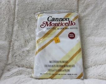 NOS Vintage  Pillowcases Cannon Monticello Stripes