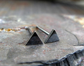Tiny triangle minimalist stud earrings. Artisan geometric post jewelry. Sterling silver, 14k gold filled or solid 14k yellow gold. Womens.
