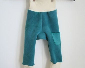 harem LONGIES - medium wool diaper cover pants 3 to 18 months - nappy cover for fitted cloth diapers - hand dyed interlock