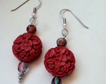 Red Cinnabar Carved Floral Colorful Earrings