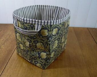 William Morris Pimpernel Blue Print Ex-large Oilcloth Storage Basket Bin Oilcloth Bag
