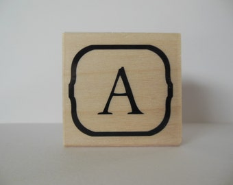 Letter A Rubber Stamp - Blooming Petals Collection - Wood Mounted Rubber Stamp - Alphabet Letter A Stamp