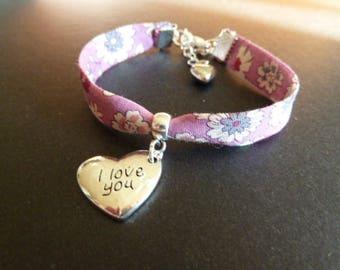 Bracelet Liberty rose engraved heart charm * I Love You *.