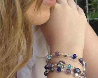 Multi Strand Bracelet Gemstone Bali Sterling Silver Purple Blue Bracelet Wire Wrapped Amethyst Pearl OOAK