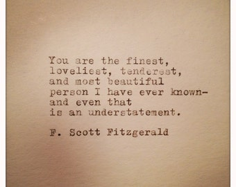F. Scott Fitzgerald Love Quote Handtyped on Vinatge Typewriter