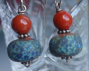 Lampwork Jasper Earrings