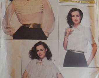 1970s Renata Blouses Vogue French Boutique Pattern # 2185 Size 10 Bust 32.5 (83 cm)