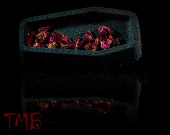 Cemetery Gates Rose Coffin Bath Bombs with REAL Dried Roses, Scented in Black Rose and Dragons Blood!