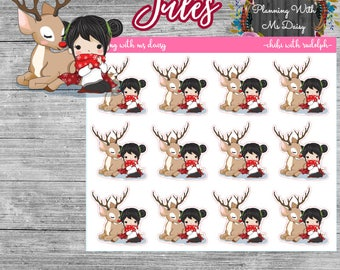 Chibi with Rudolph Stickers (Choose from 4 options)