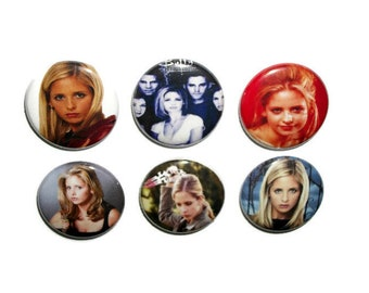 "Buffy The Vampire Slayer 1"" button set of 6 one inch pin back badges classic tv show lover gift Mom Dad girlfriend boyfriend"