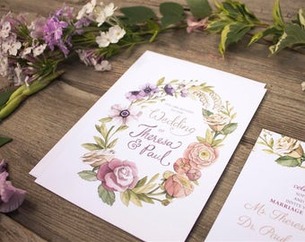 Watercolour Floral Wreath Wedding Invitations and Stationery - SAMPLE - Floral Wedding Stationery - Artwork by Alicia's Infinity