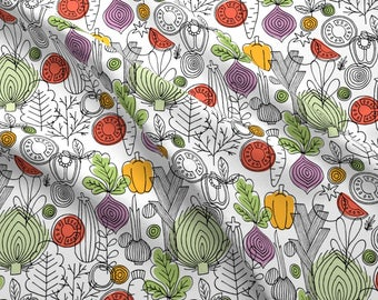 Scandi Mod Vegetables Fabric - Vegetables By Adehoidar - Scandinavian Mod Kitchen Decor Cotton Fabric By The Yard With Spoonflower